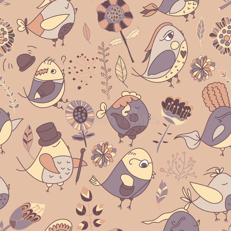 Download Textura Inconsútil Con Las Flores Y Los Pájaros Ilustración del Vector - Ilustración de pájaro, travieso: 41905898