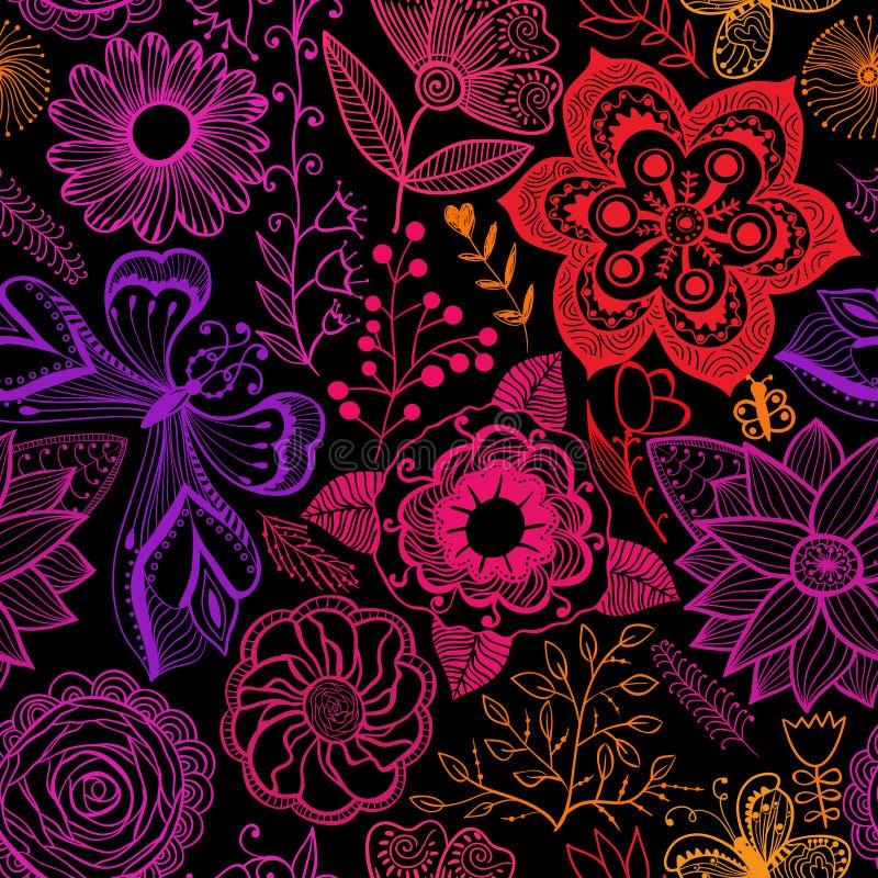 Textura inconsútil con las flores y los pájaros Estampado de flores sin fin ilustración del vector