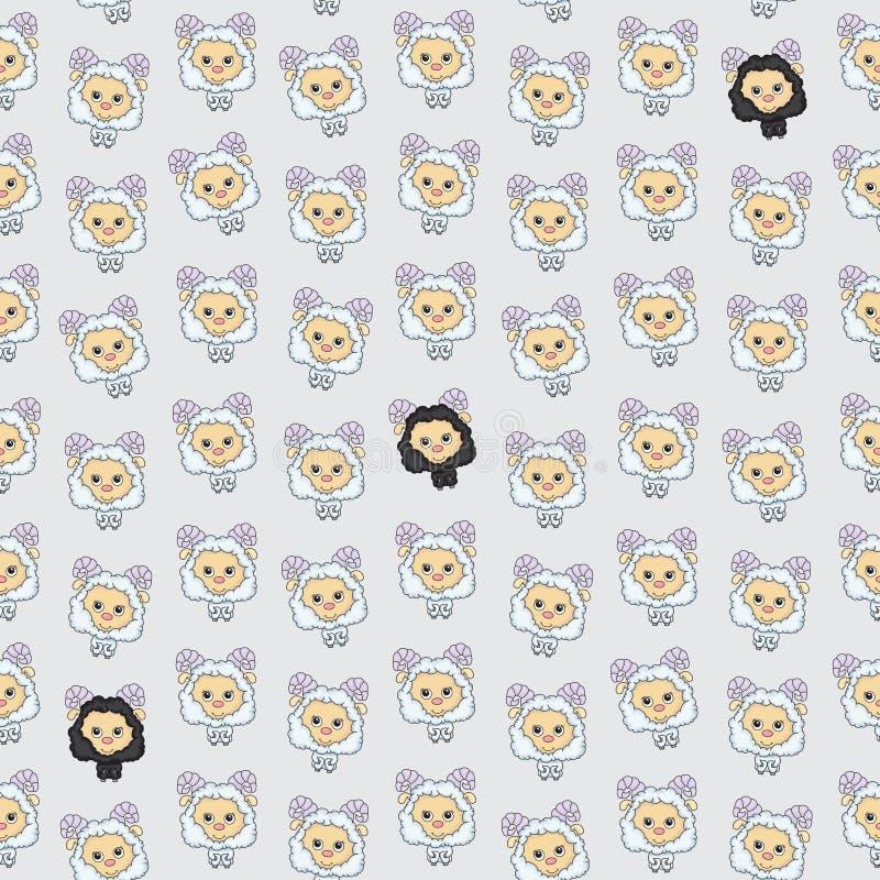 Textura inconsútil con las ovejas divertidas de la historieta Fondo del vector libre illustration