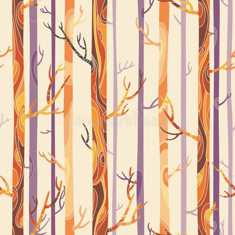 Textura inconsútil con los árboles stock de ilustración