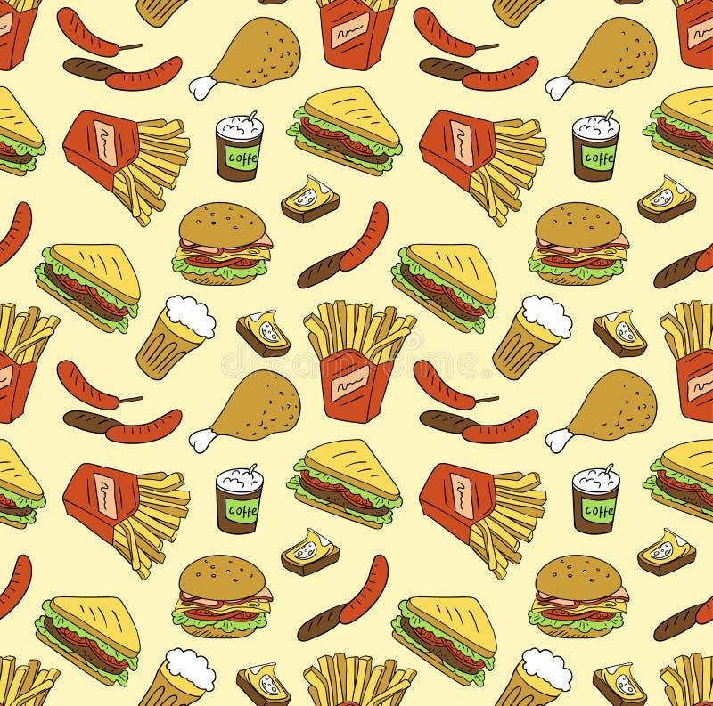 Textura inconsútil con los alimentos de preparación rápida stock de ilustración