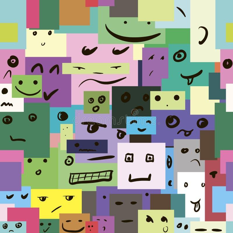 Textura inconsútil con los cuadrados sonrientes libre illustration