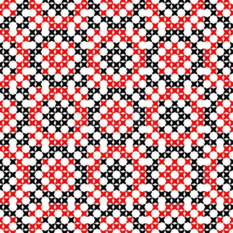 Textura inconsútil con los modelos abstractos rojos y negros ilustración del vector
