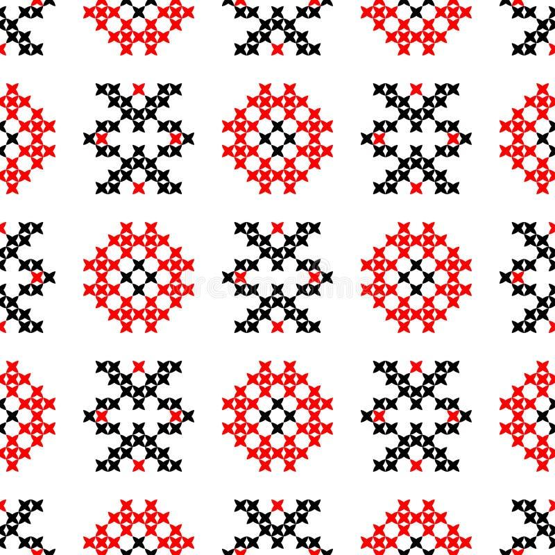 Textura inconsútil con los modelos abstractos rojos y negros stock de ilustración