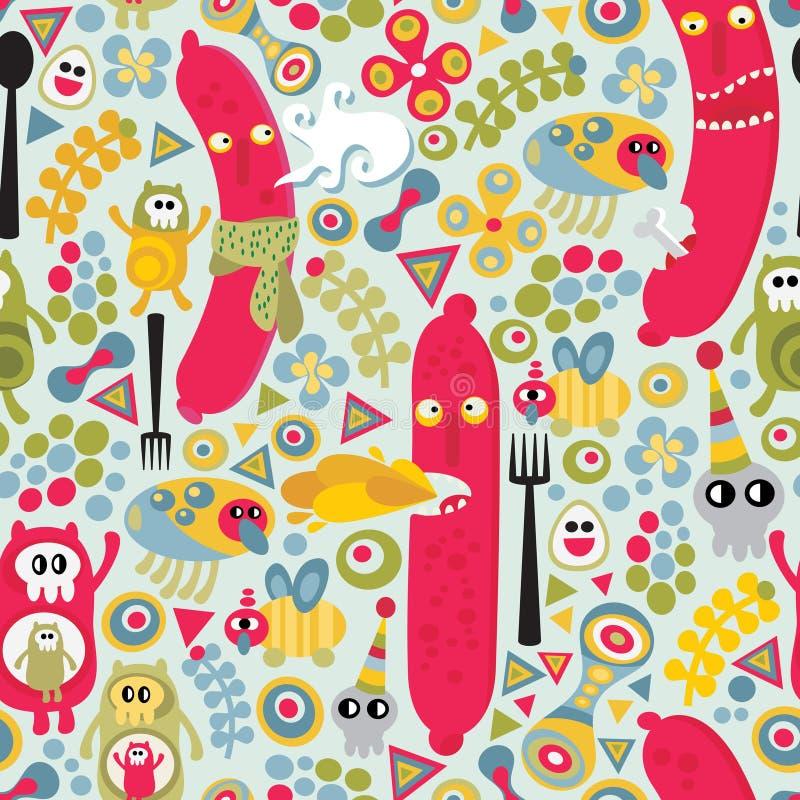 Textura inconsútil con los monstruos de la comida de las salchichas. stock de ilustración