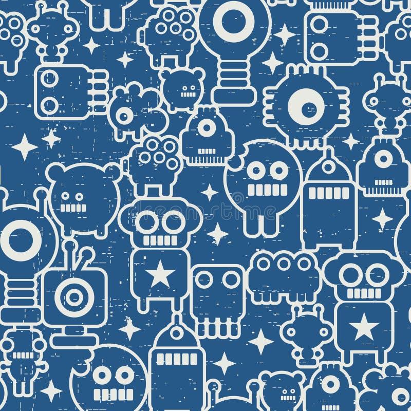 Textura inconsútil con los robots nanos en estilo retro. libre illustration