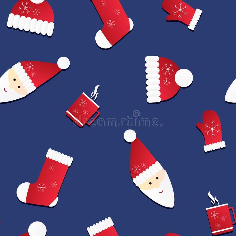 Textura inconsútil con Papá Noel y los casquillos rojos, manoplas, calcetines ilustración del vector