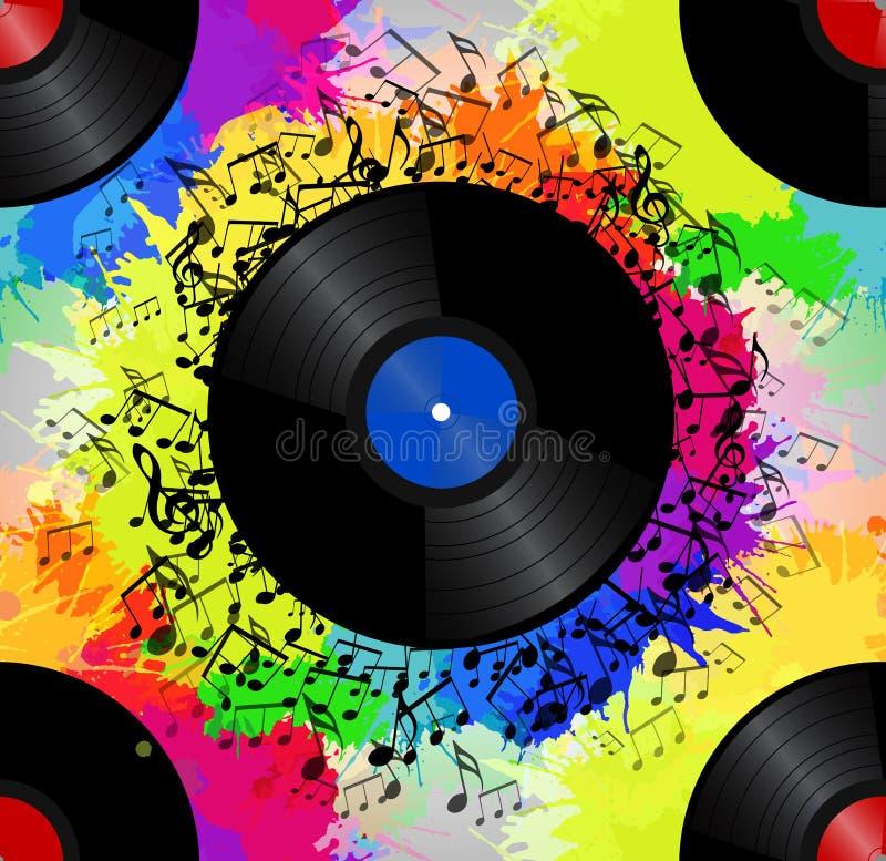 Textura inconsútil con un disco de vinilo, notas de la música ilustración del vector