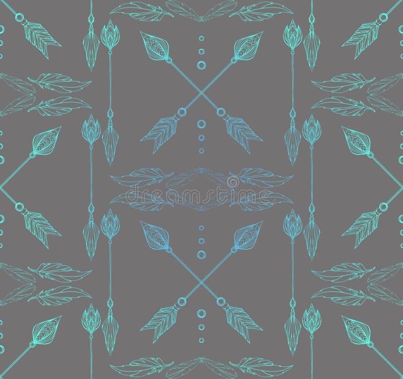 Textura inconsútil de Boho con las flechas y las plumas del garabato libre illustration