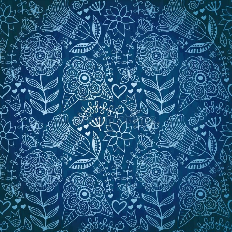 Textura inconsútil de invierno con las flores, los pájaros y las mariposas stock de ilustración