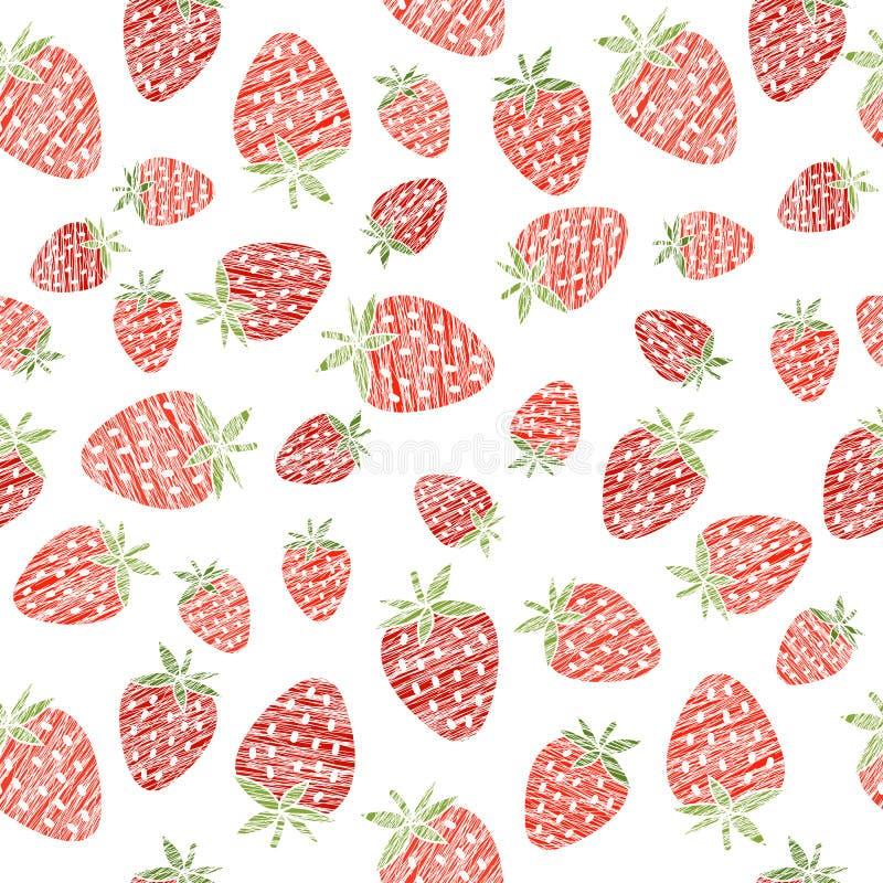 Textura inconsútil de la fresa, fondo sin fin de la baya Extracto libre illustration