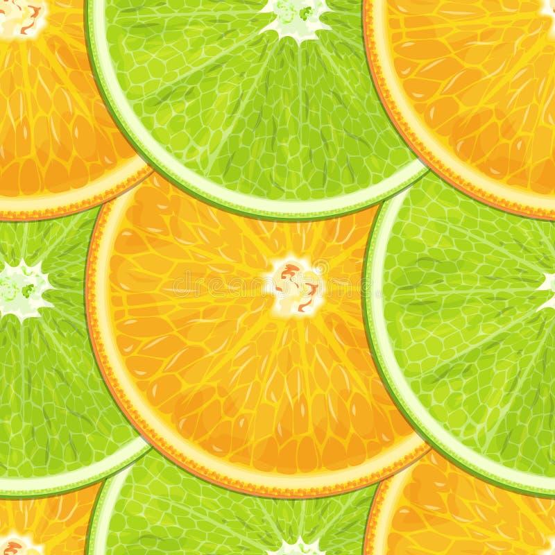 Textura inconsútil de la naranja y de la cal de la fruta cítrica ilustración del vector