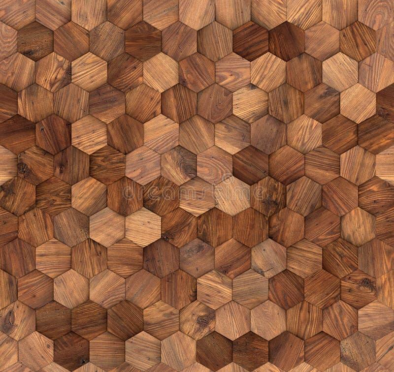 Textura inconsútil de la pared de madera de los hexágonos foto de archivo