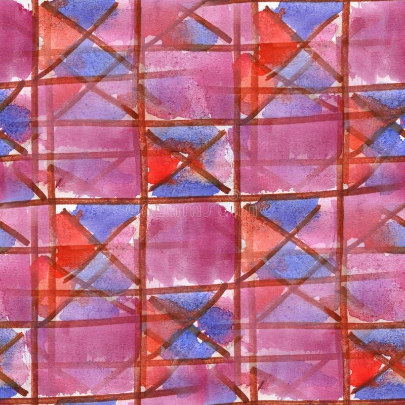 Textura inconsútil de las materias textiles cruzadas azules rosadas del triángulo de la acuarela para su arte del papel pintado d stock de ilustración