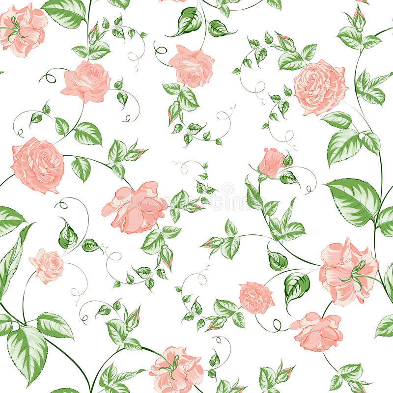 Textura inconsútil de las rosas hermosas para las materias textiles ilustración del vector
