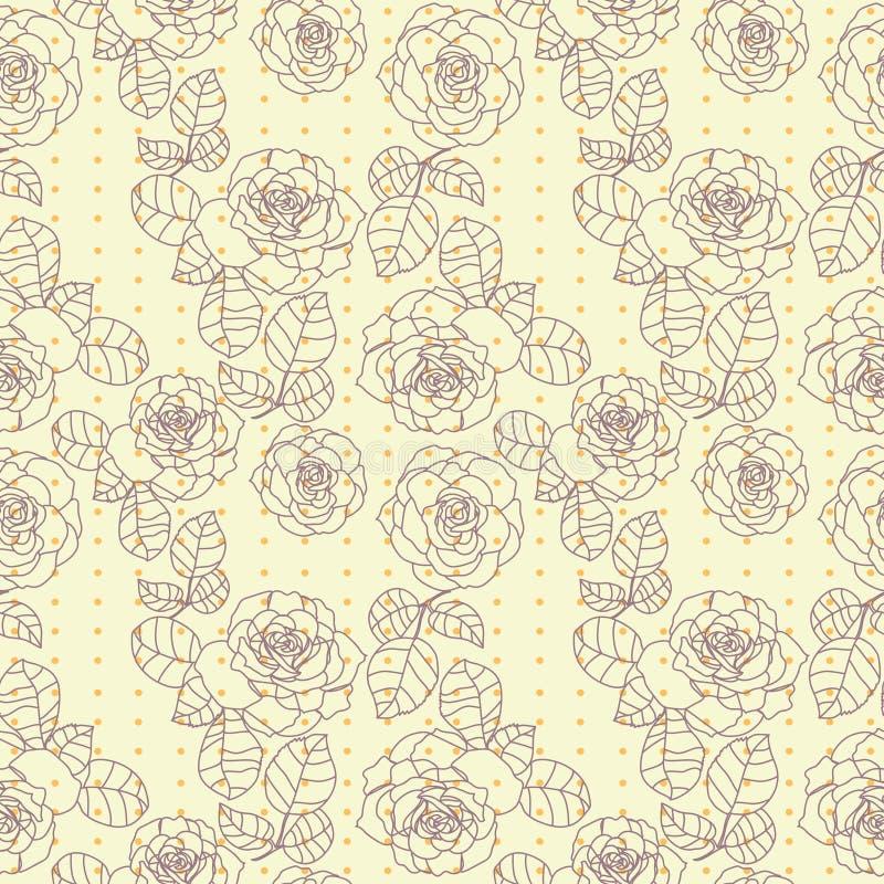 Textura inconsútil de las rosas lindas en colores en colores pastel ilustración del vector