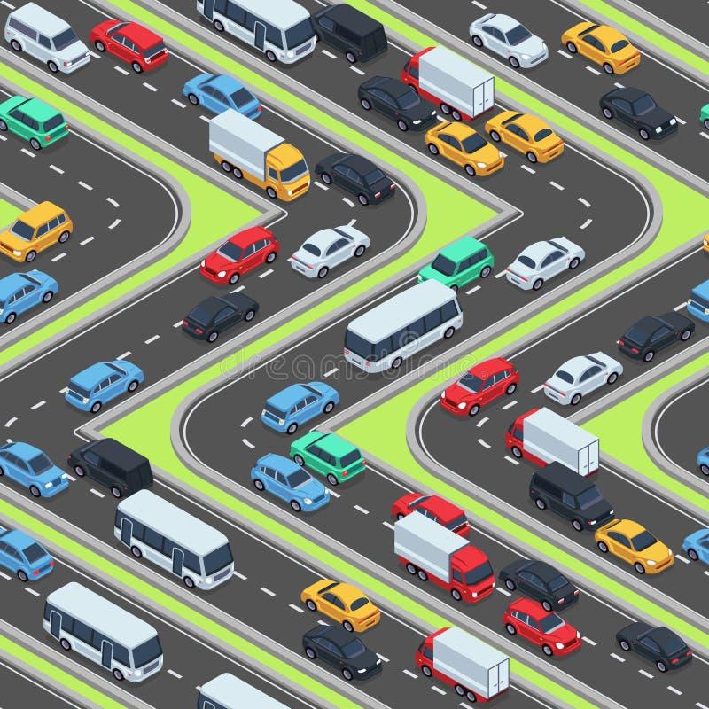 Textura inconsútil de los coches urbanos Caminos isométricos y tráfico de coche libre illustration