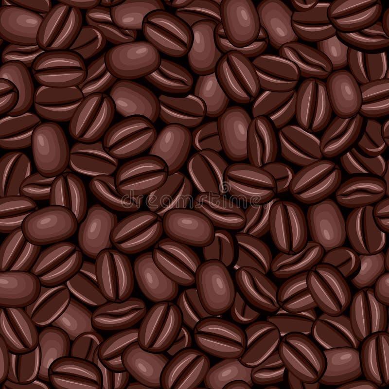 Textura inconsútil de los granos de café stock de ilustración