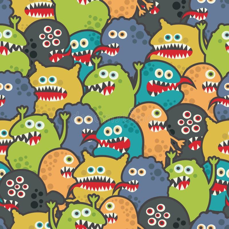 Textura inconsútil de los monstruos lindos. ilustración del vector