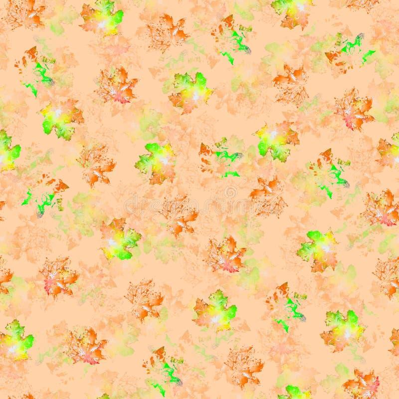 Textura inconsútil de los puntos multicolores de la acuarela en un fondo anaranjado stock de ilustración
