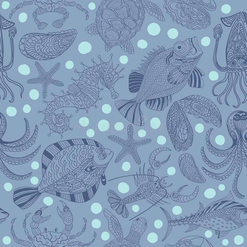 Textura inconsútil de mariscos Fondo del vector libre illustration