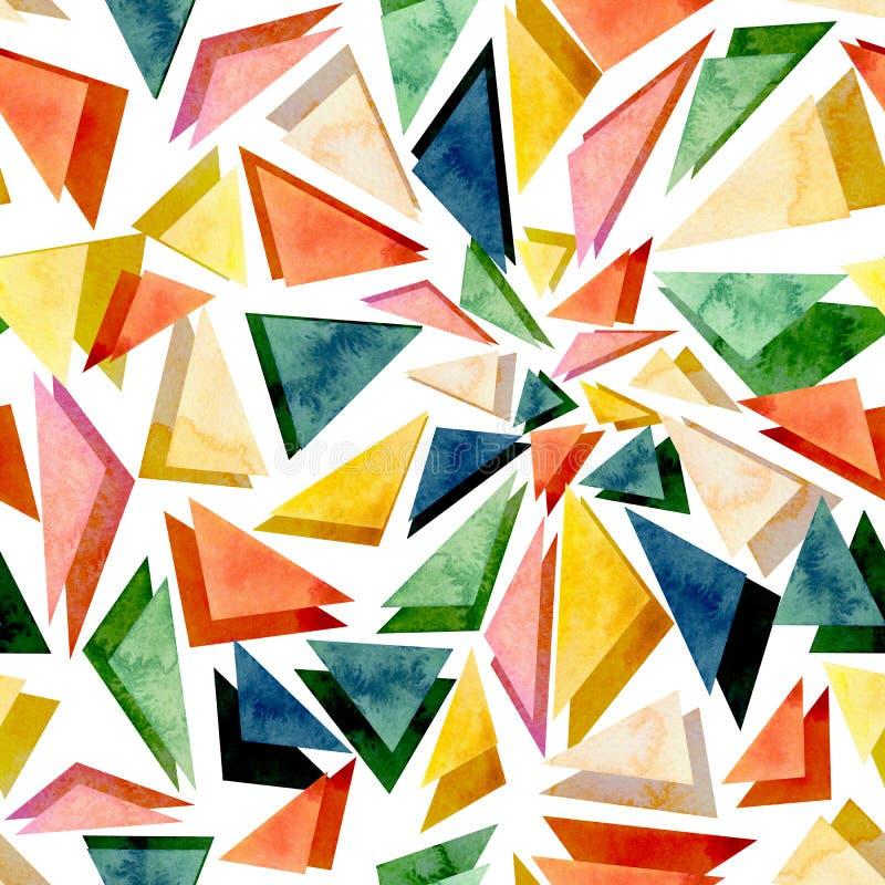 Textura inconsútil del extracto colorido brillante de los triángulos de la acuarela ilustración del vector