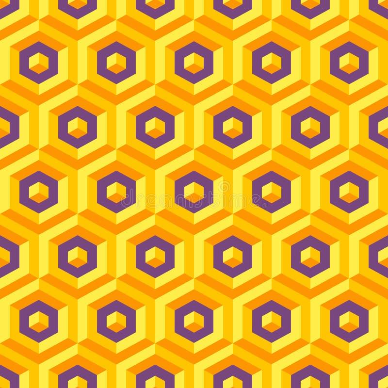Textura inconsútil del extracto 3d con hexagonal stock de ilustración
