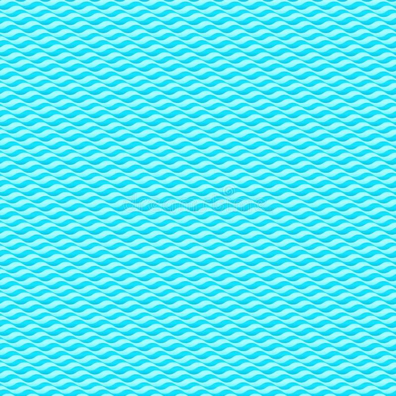 Textura inconsútil del fondo del vector de las ondas de agua azul stock de ilustración