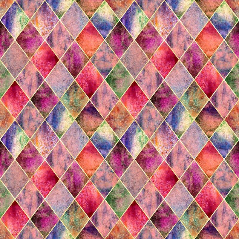 Textura inconsútil del modelo de la acuarela geométrica del extracto de Argyle fotos de archivo libres de regalías