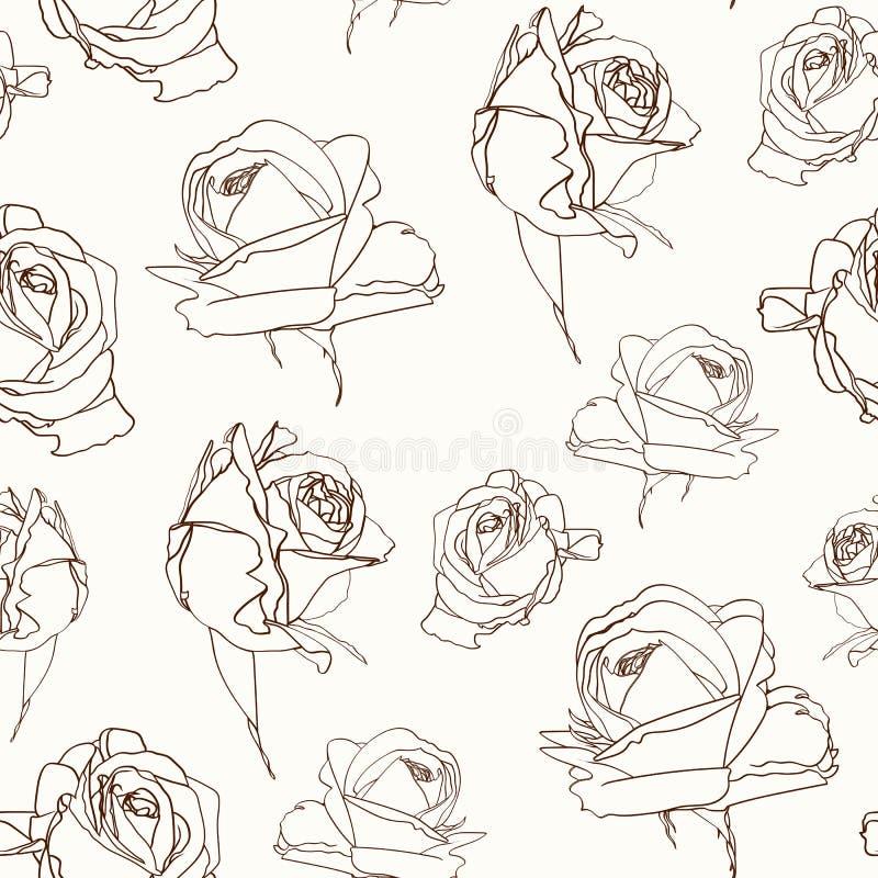 Textura inconsútil del modelo de las flores de las rosas Esquema de la sepia de Brown en fondo beige libre illustration