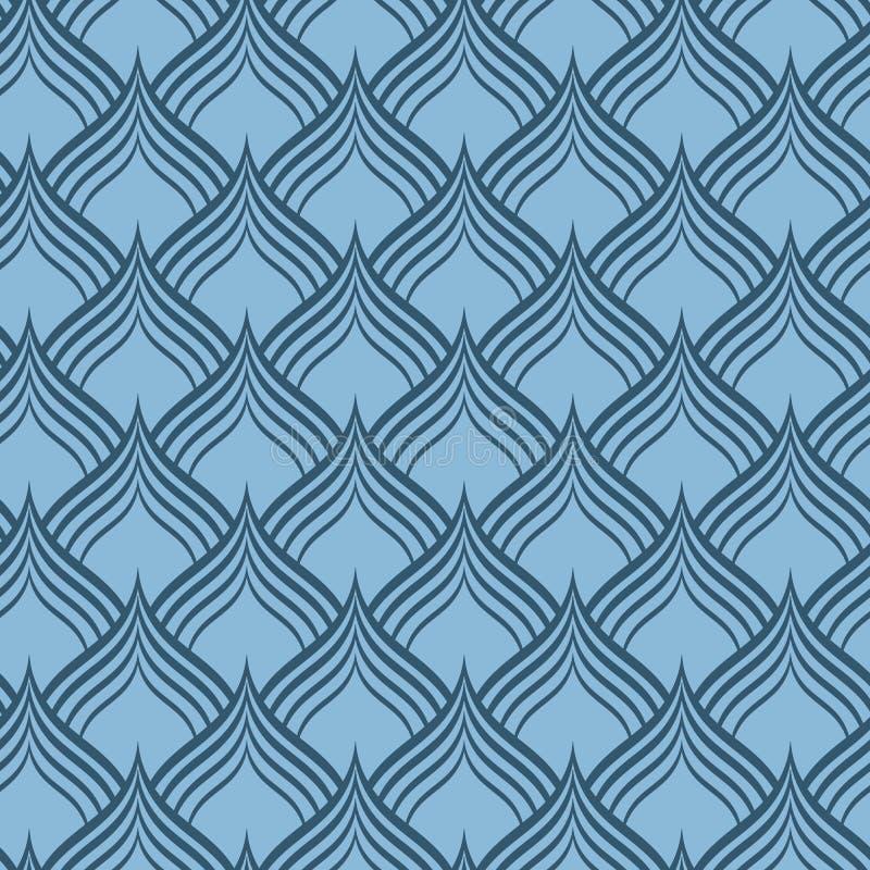 Textura inconsútil del modelo del vector de la escala azul del dragón stock de ilustración