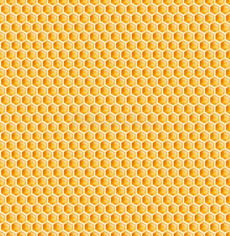 Textura inconsútil del peine de la miel del panal o de la abeja stock de ilustración