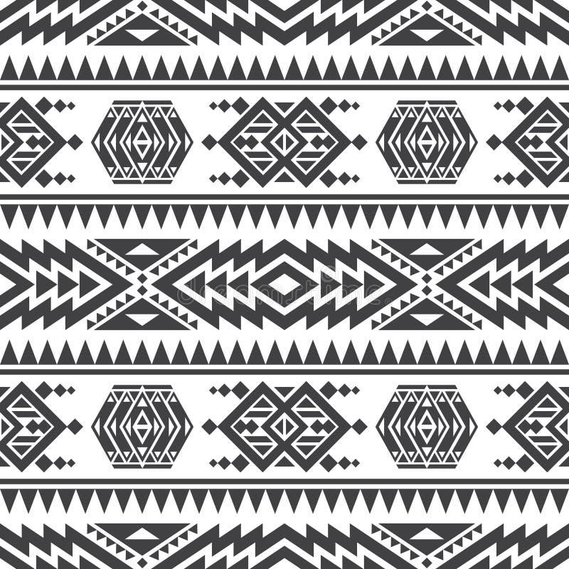 Textura inconsútil del vector azteca americano Modelo repetidor indio tribal nativo stock de ilustración