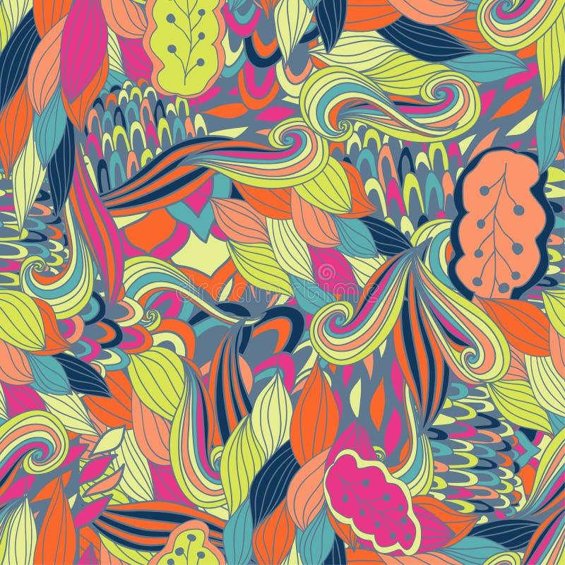 Textura inconsútil del vector con las flores abstractas Fondo sin fin Modelo inconsútil étnico Contexto del vector brillante ilustración del vector