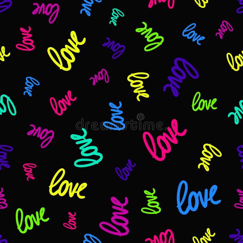 Textura inconsútil del vector con palabras coloridas aleatoriamente dispersadas del amor libre illustration