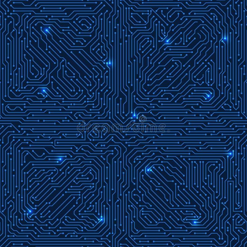 Textura inconsútil del vector de la placa de circuito Fondo electrónico de Sci fi libre illustration