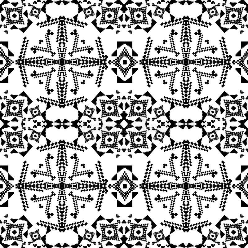 Textura inconsútil del vector Modelo geométrico tribal blanco y negro Estilo ornamental azteca libre illustration