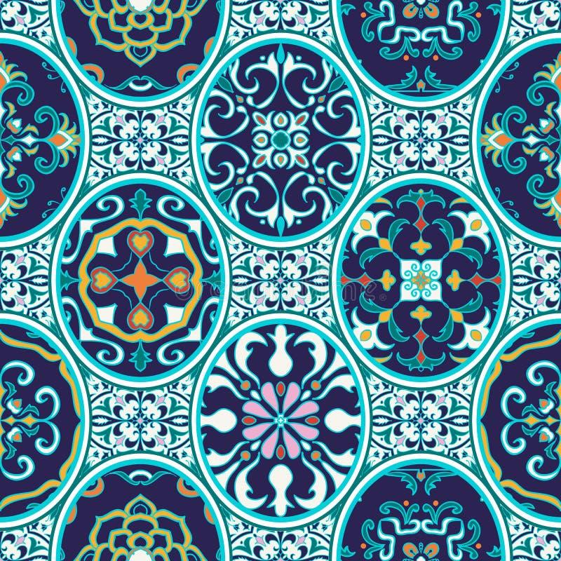 Textura inconsútil del vector Modelo hermoso del remiendo para el diseño y moda con los elementos decorativos ilustración del vector