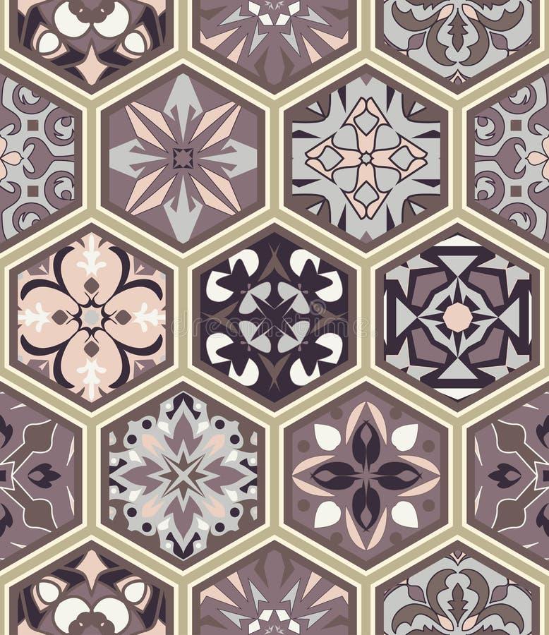 Textura inconsútil del vector Ornamento del remiendo del mosaico con las tejas del hexágono Modelo decorativo de los azulejos por ilustración del vector