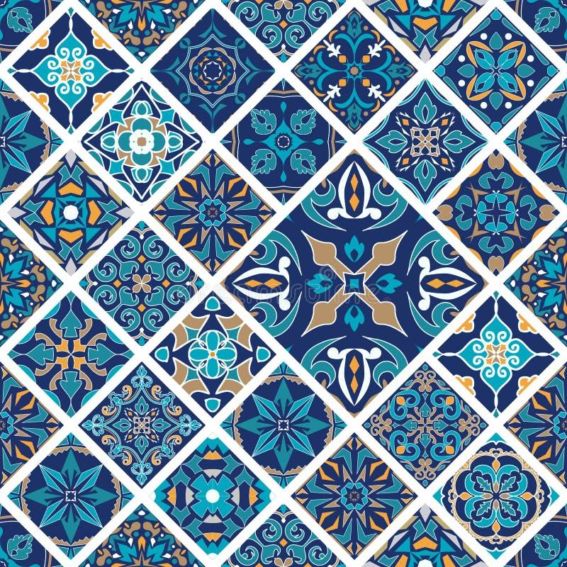 Textura inconsútil del vector Ornamento del remiendo del mosaico con las tejas del Rhombus Modelo decorativo de los azulejos port stock de ilustración