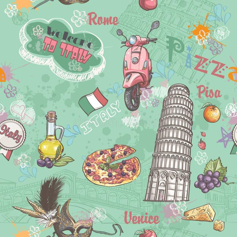 Textura inconsútil en Italia con una imagen de la comida, de la arquitectura, y de los diversos temas en Italia ilustración del vector