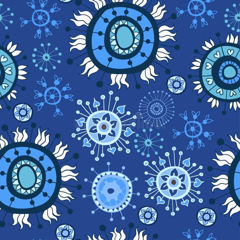 Textura inconsútil floral adornada con las flores stock de ilustración