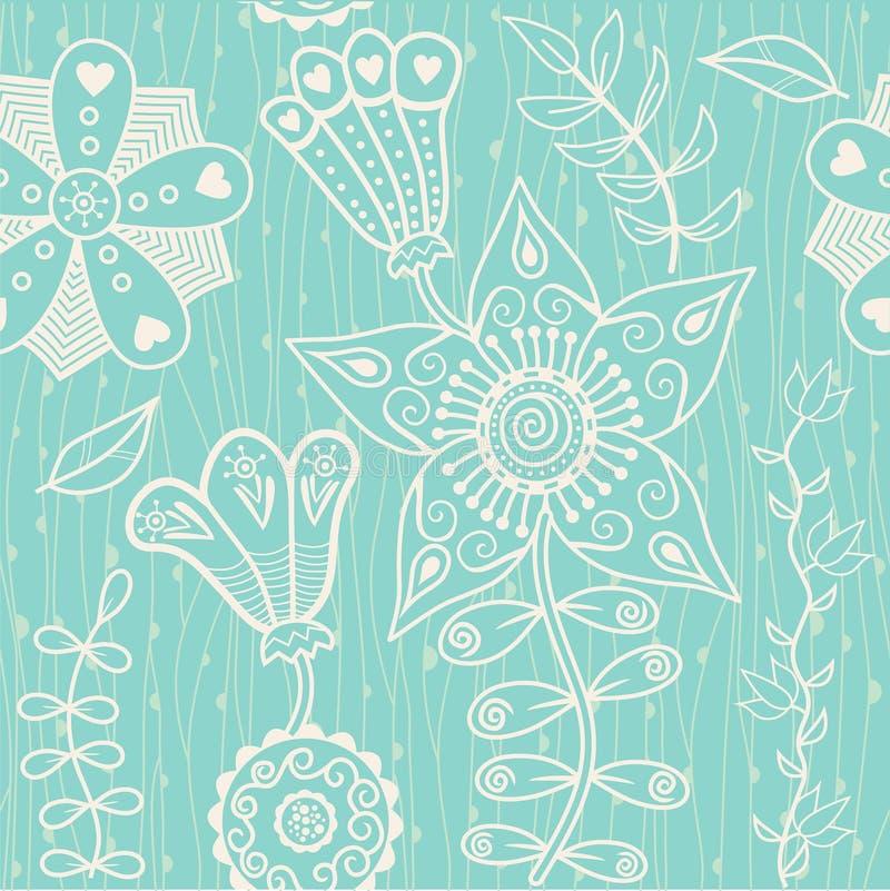 Textura inconsútil floral adornada, modelo sin fin con las flores SE stock de ilustración