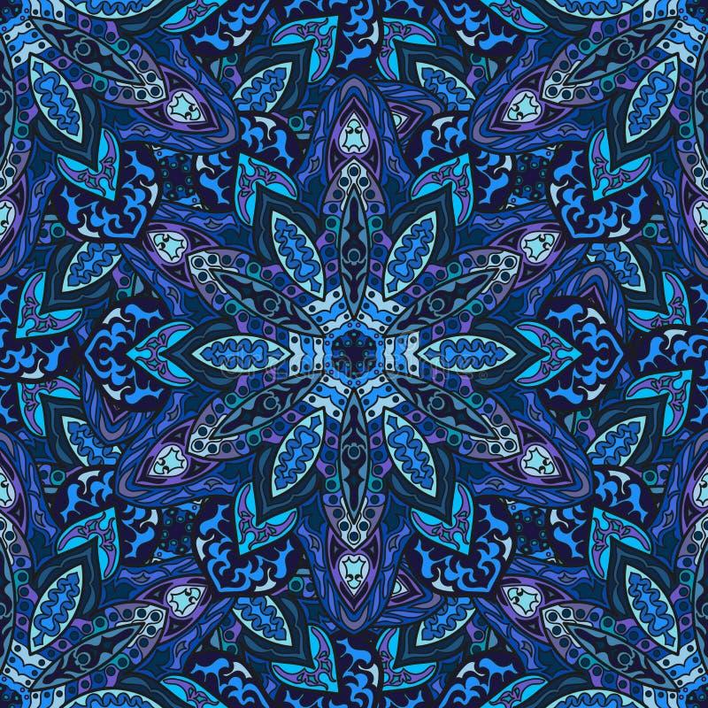 Textura inconsútil floral adornada, modelo sin fin con los elementos de la mandala del vintage libre illustration