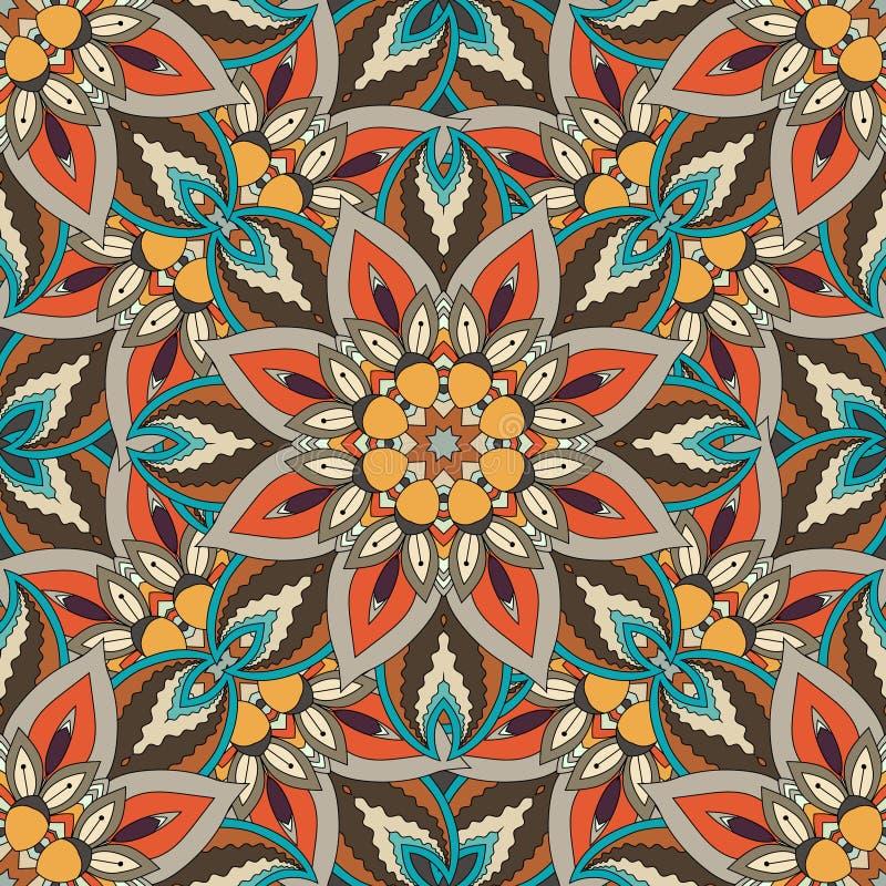 Textura inconsútil floral adornada, modelo sin fin con los elementos de la mandala del vintage stock de ilustración