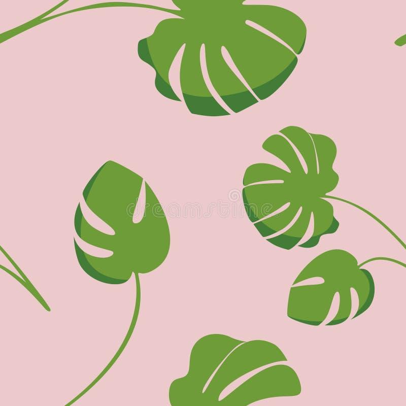 Textura inconsútil Fondo tropical brillante con las plantas de la selva Modelo exótico del vector con las hojas planta tropical d stock de ilustración