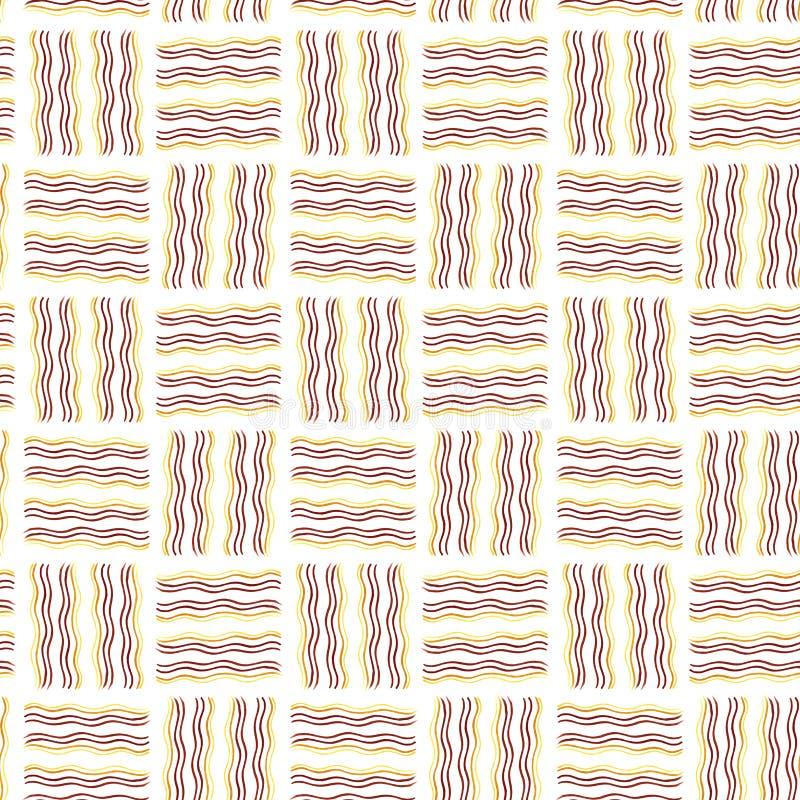Textura inconsútil Línea marcador de la onda Amarillo, anaranjado, marrón stock de ilustración