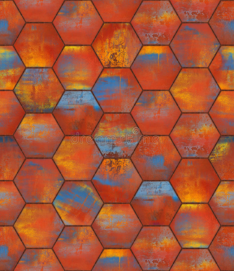 Textura inconsútil tejada hexagonal colorida fotos de archivo