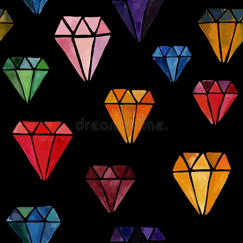Textura infinita do vetor com joias ilustração do vetor