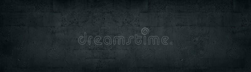 Textura larga de la pared de ladrillo negra de la toba volcánica Fondo panorámico de la albañilería de piedra áspera oscura del b ilustración del vector